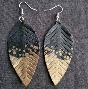 Black and gold pleather earrings